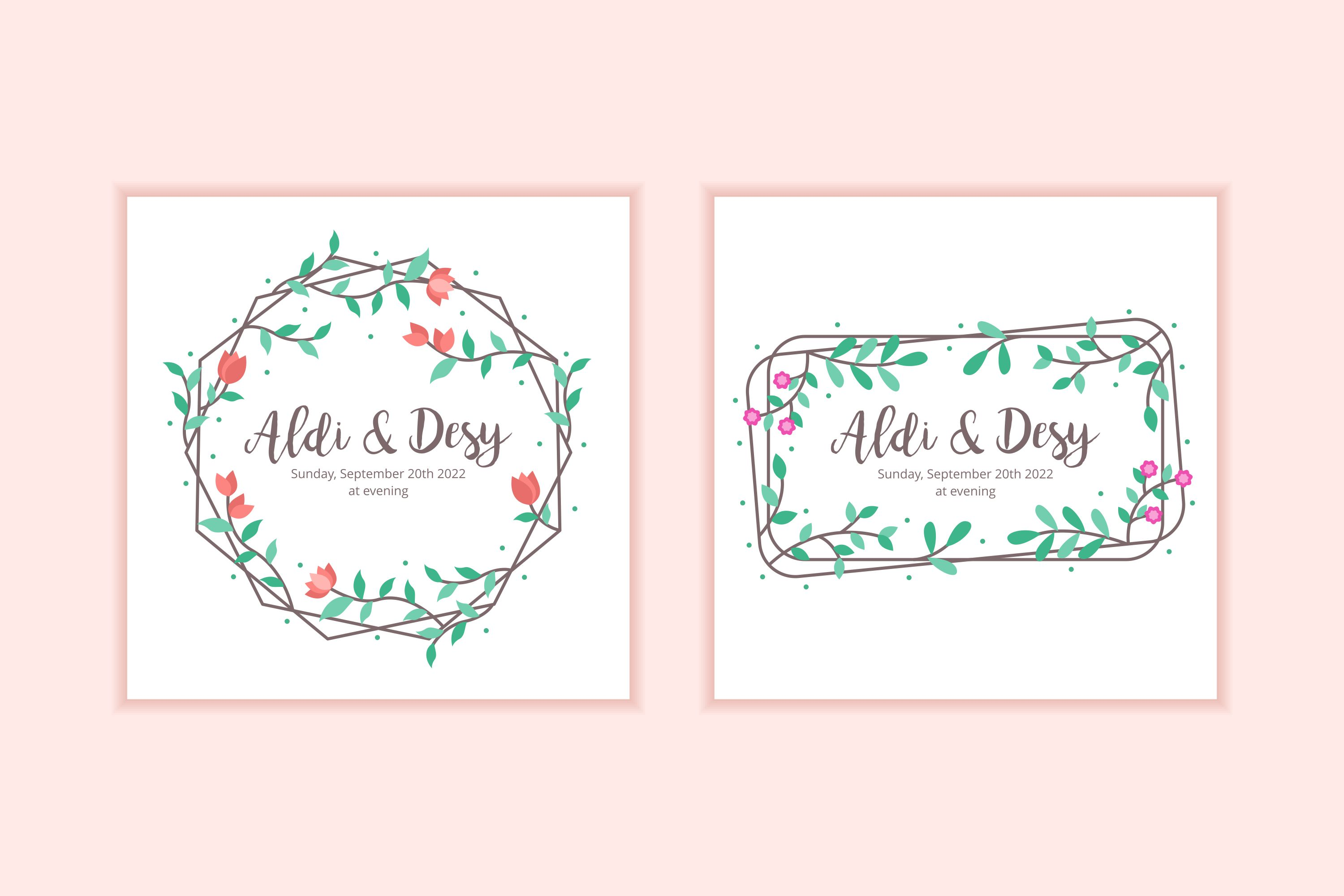 10 Floral Frame Wedding Invitation Template example image 1