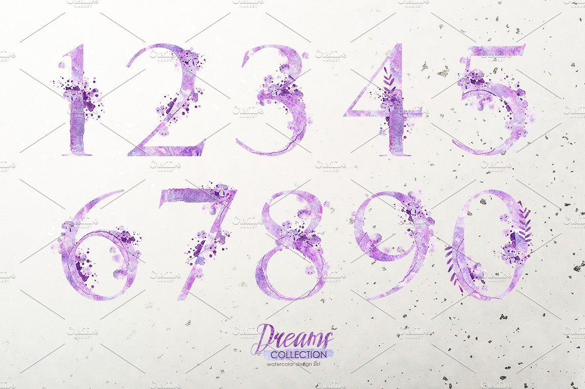 Watercolor numbers - DREAMS example image 3