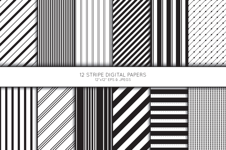 Stripe Digital Paper, Striped Scrapbook paper example image 1