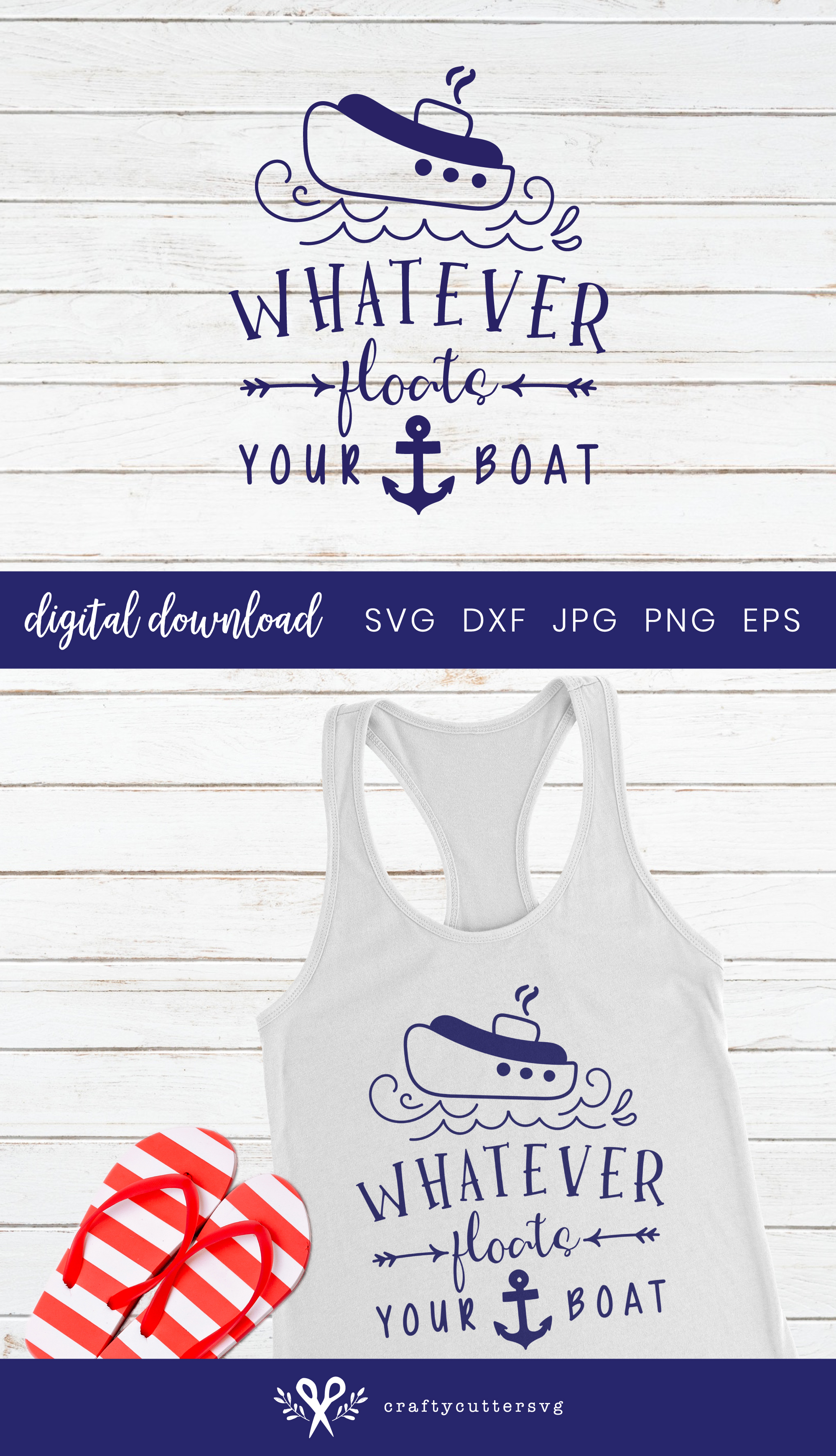 Whatever floats your boat Svg Cut File Ship Anchor Clipart example image 3