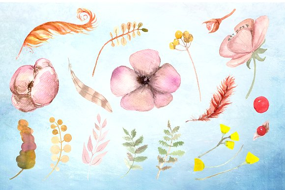 Morning Beauty Watercolor Clipart example image 2