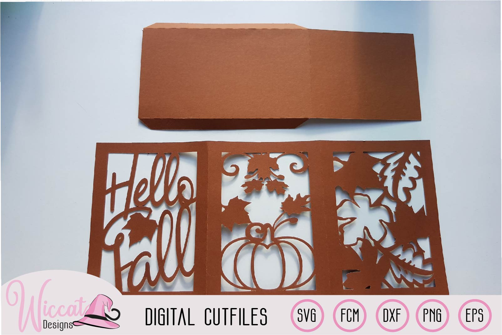 Happy fall lantern template, pumpkin and leaves, paper craft example image 3