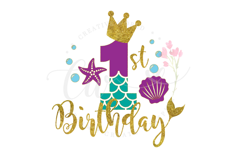 My 1st Birthday Mermaid SVG | Mermaid SVG | Mermaid Birthday example image 1