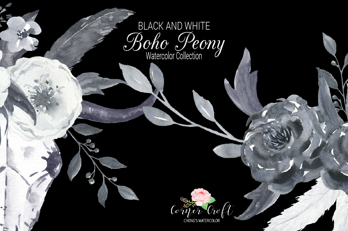 Watercolor Black and White Boho Peony example image 6