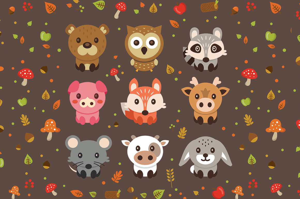 Woodland Cute Vector Pets Animals example image 1