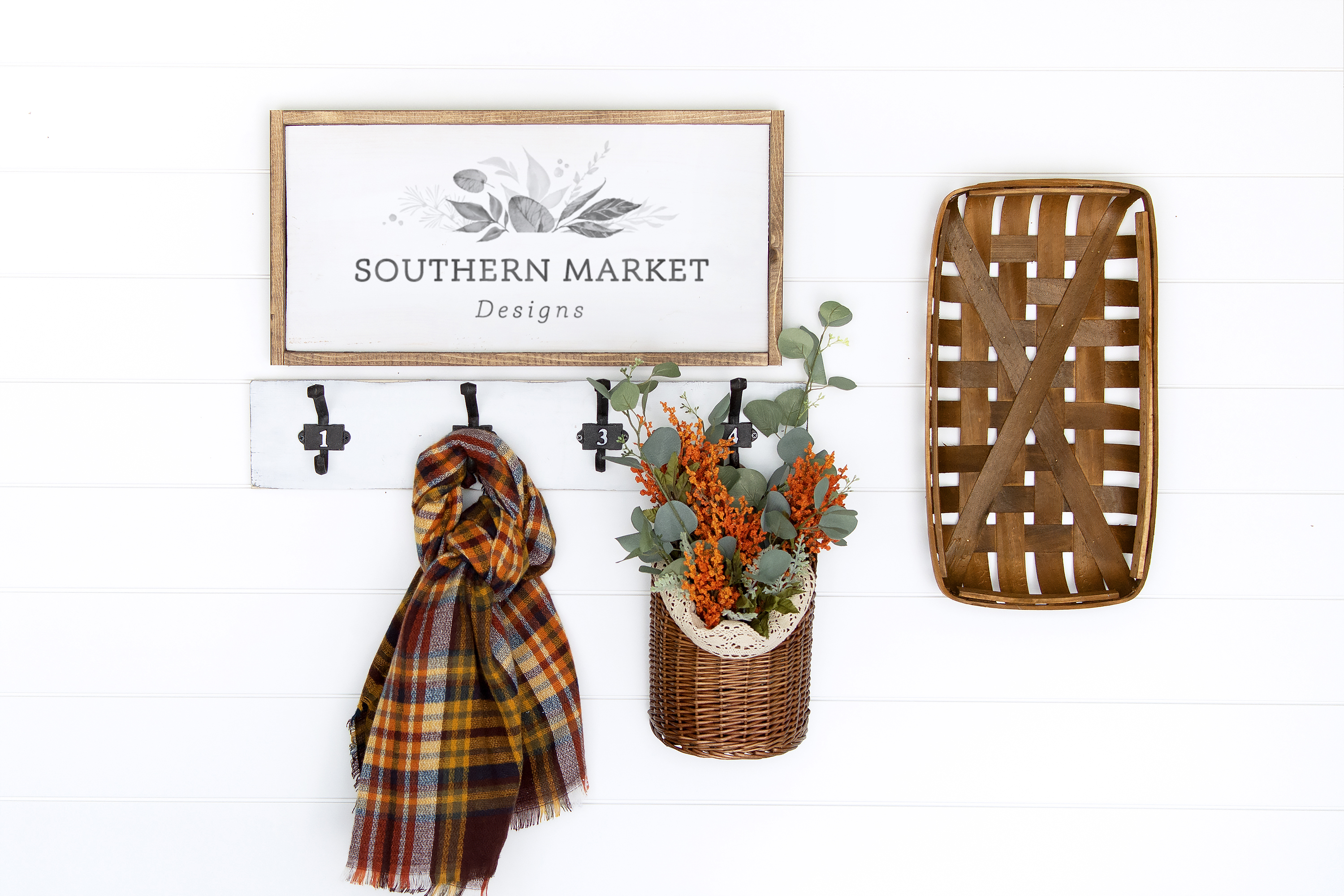 Fall Stained 12x24 Wood Sign Mock Up Stock Photo example image 1
