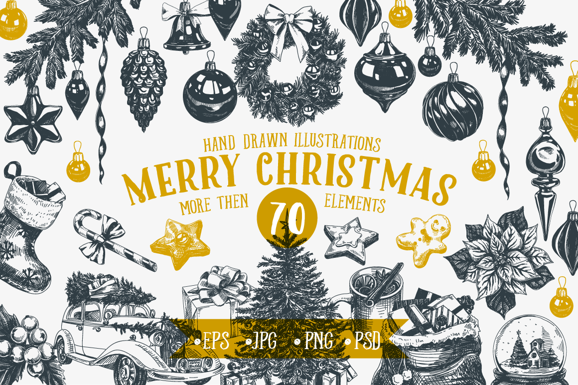 Christmas Illustrations.Hand Drawn Christmas Illustrations