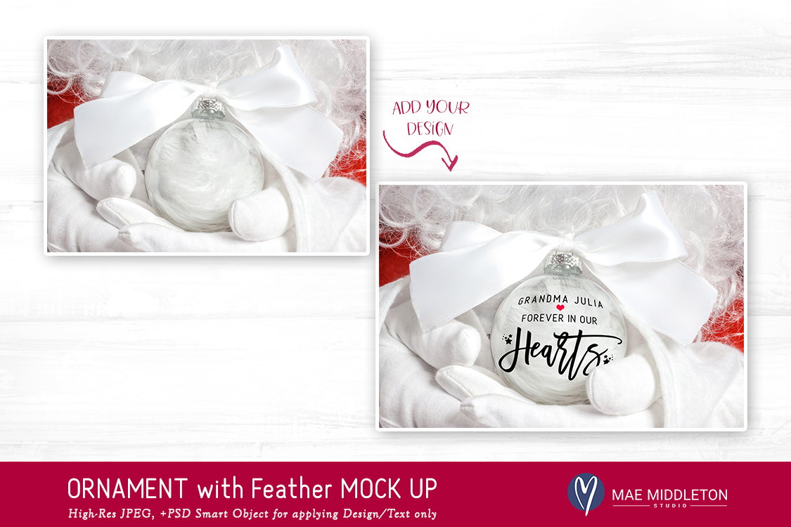 Christmas Mock up - Ornament with Feathers example image 2