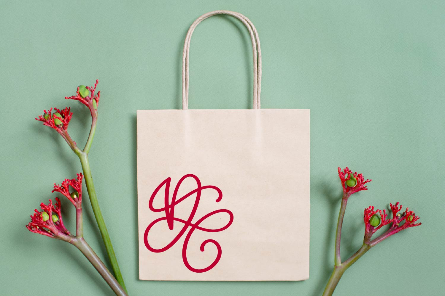Scripty Monogram Font - With heart accents example image 7
