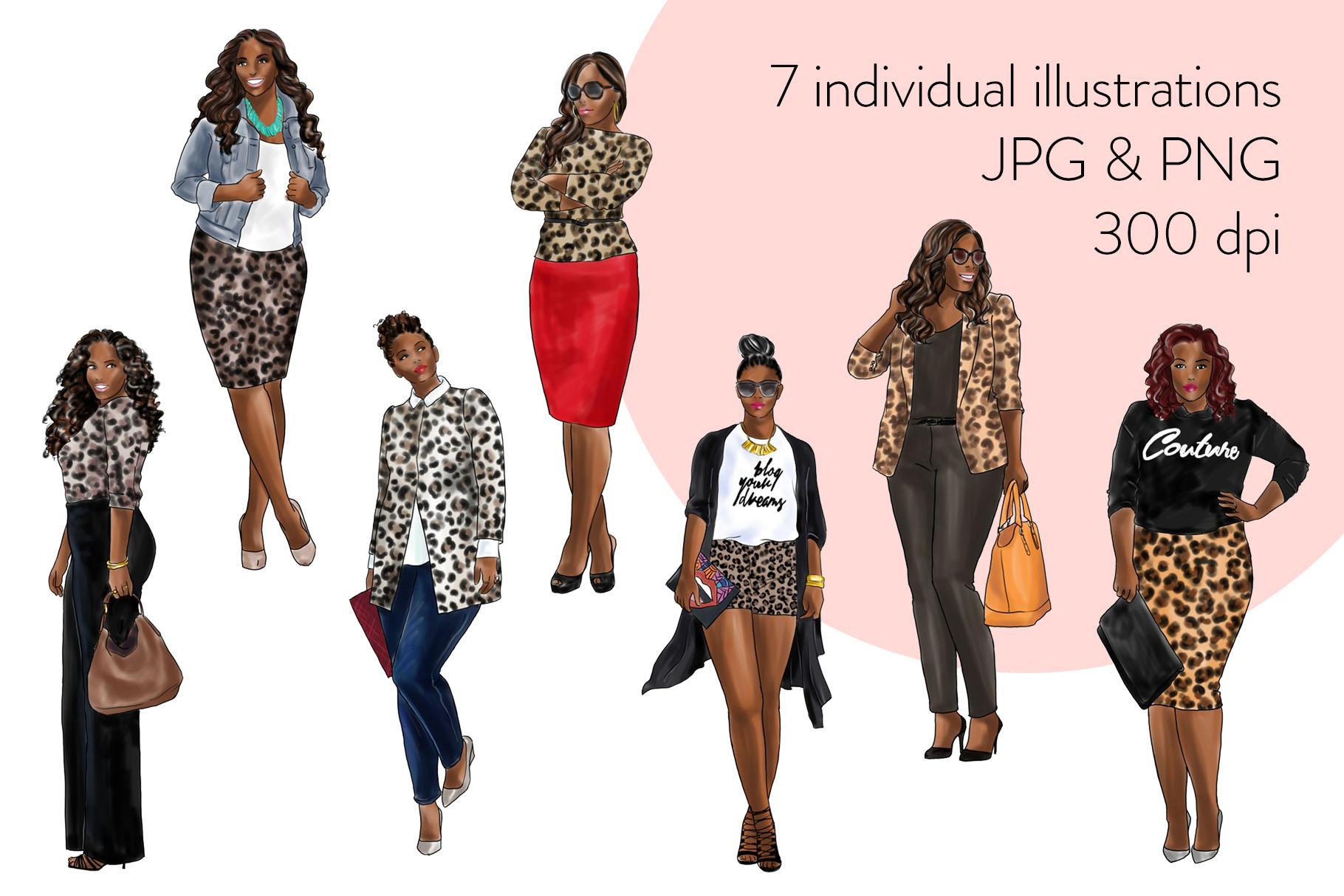 Fashion clipart - Curvy Girls in Animal Print - Dark Skin example image 2