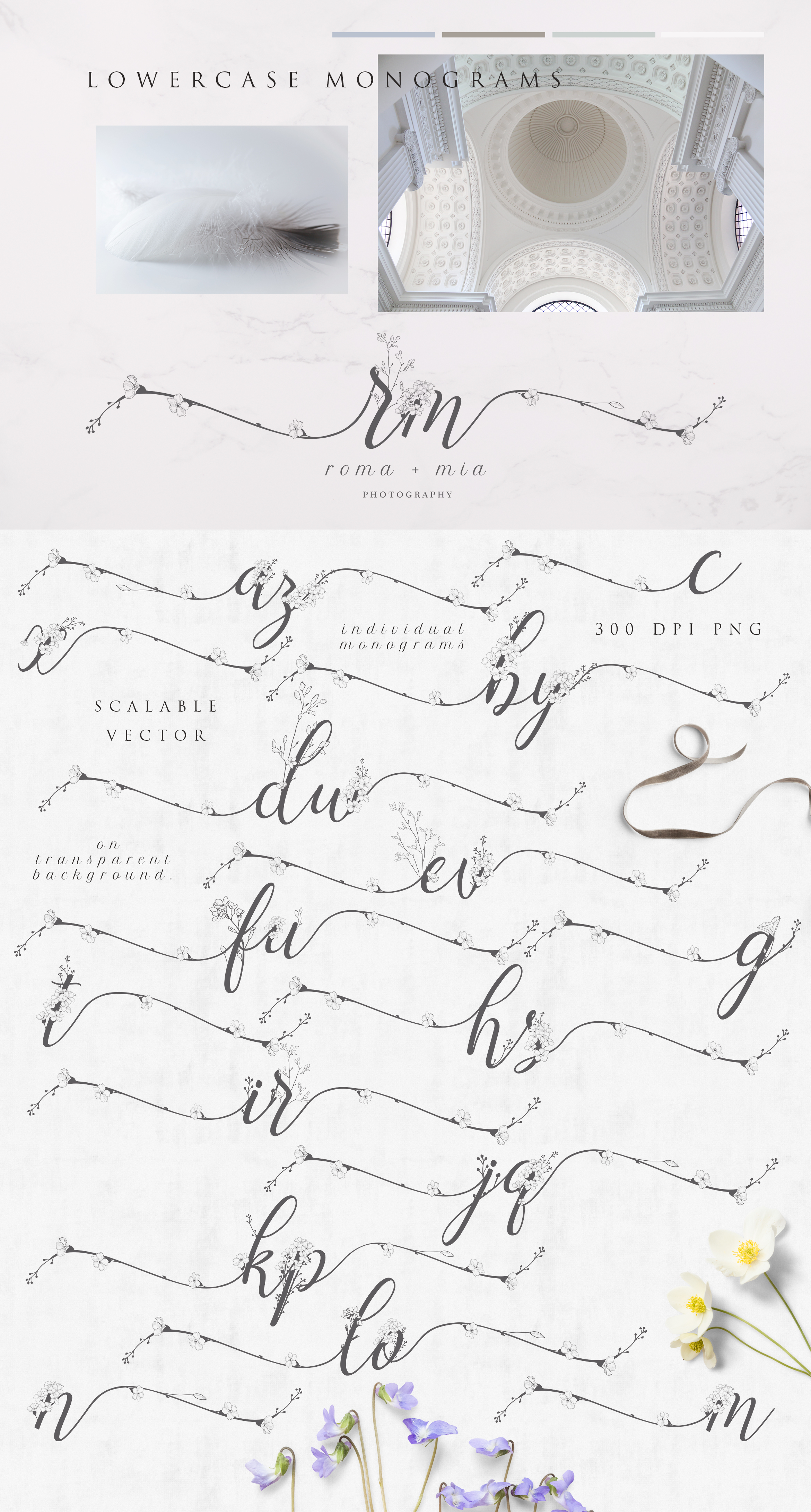 Flowered Monograms & Logo Collection example image 4