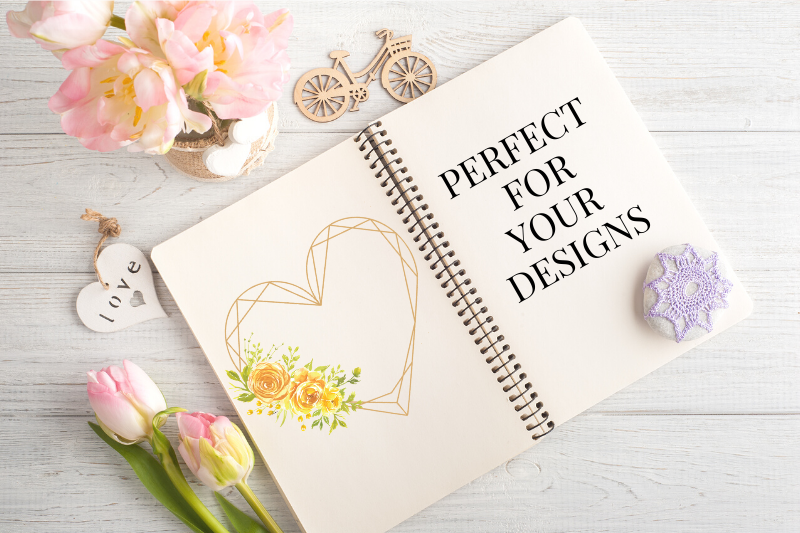 Heart Shaped Watercolor Flowers Frames, Geometric Gold Frame example image 10