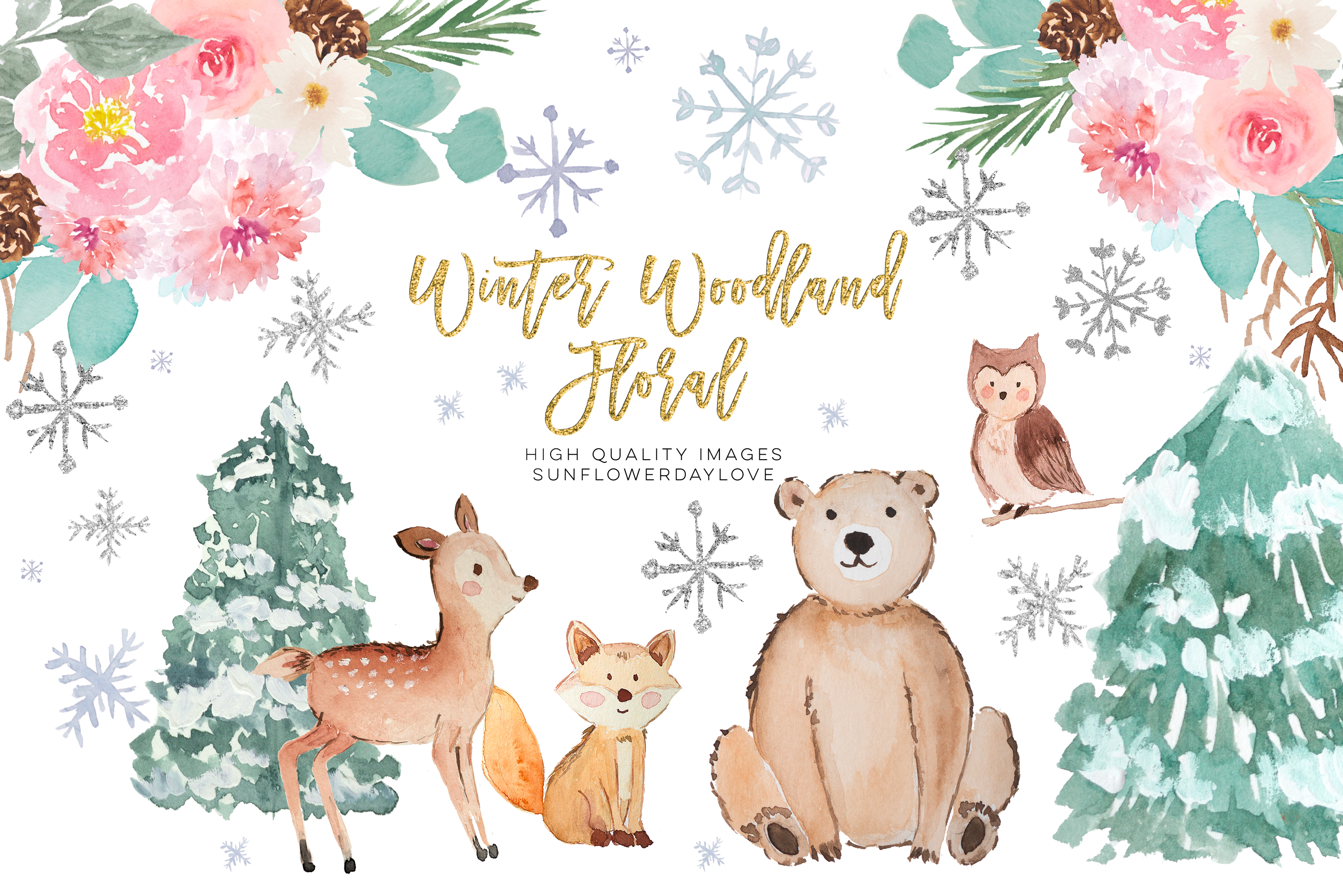 Winter Woodland Animals Clipart, Watercolor Forest Animals example image 1
