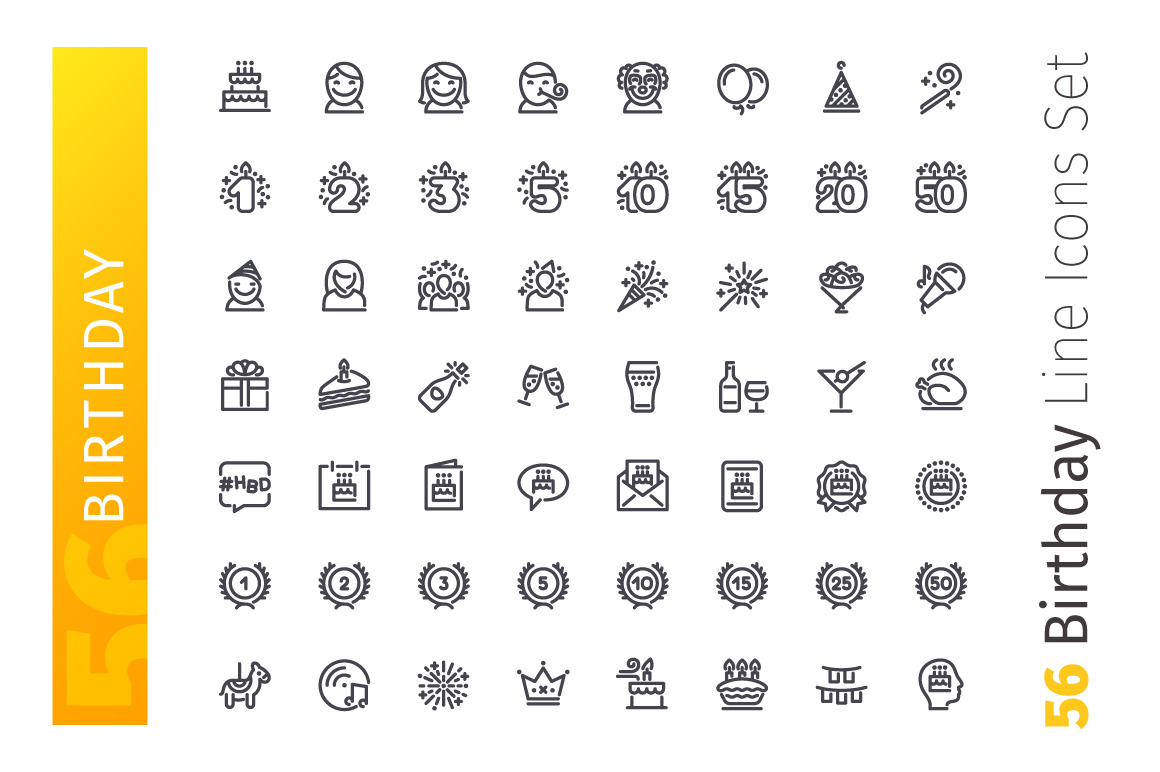 Birthday Line Icons Set example image 2