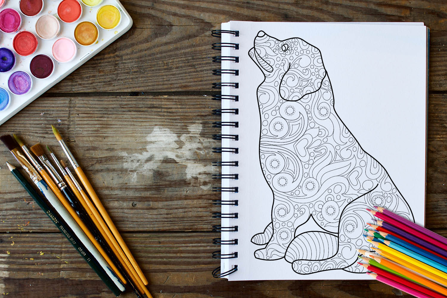 Dogs and Puppies Coloring Book - 30 Unique Coloring Pages example image 2