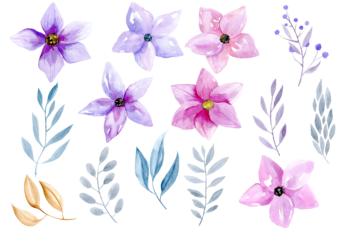 Watercolor purple & pink flowers example image 2