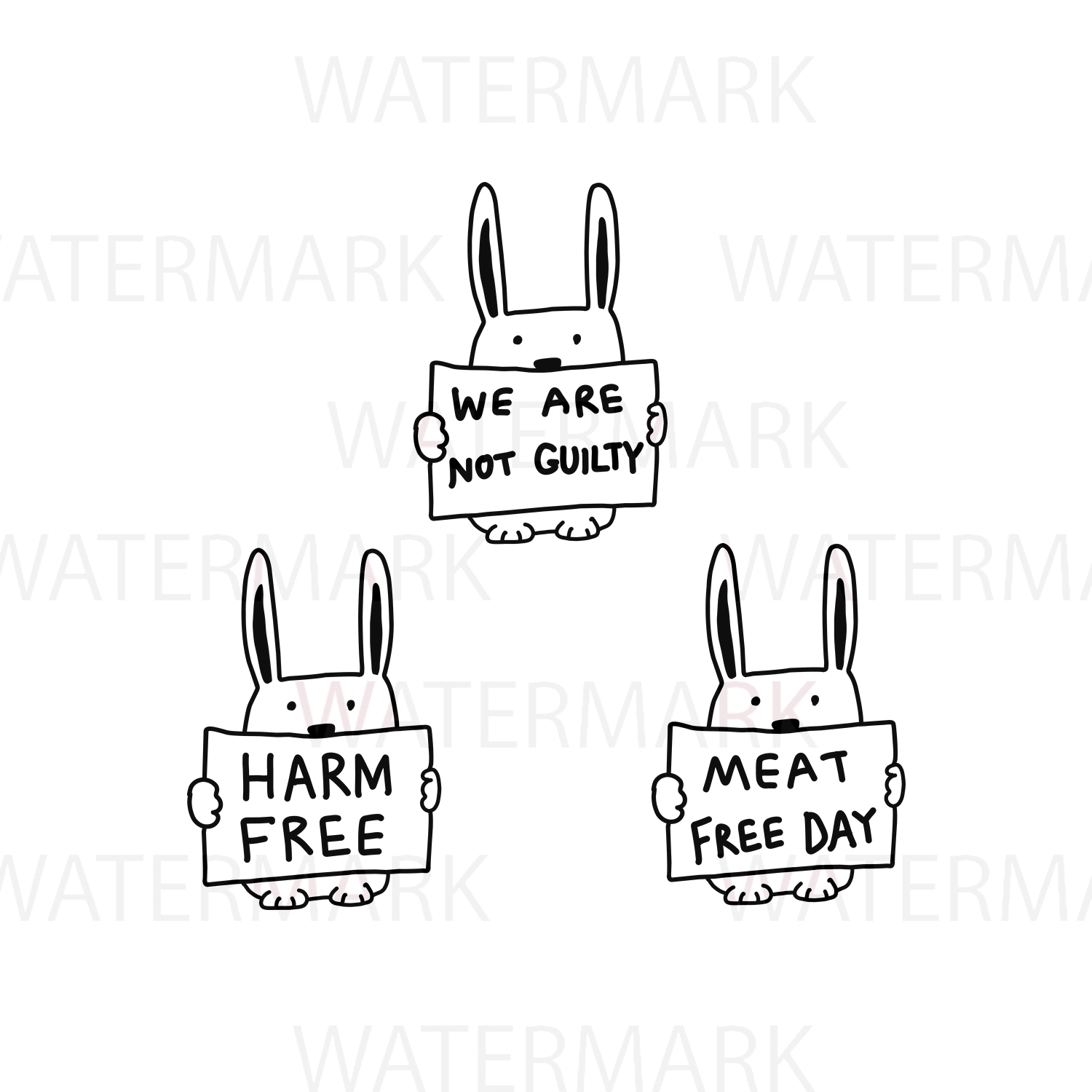 Rabbit with text We are not guilty / Harm Free / Meat Free day - SVG/JPG/PNG - Hand Drawing example image 1