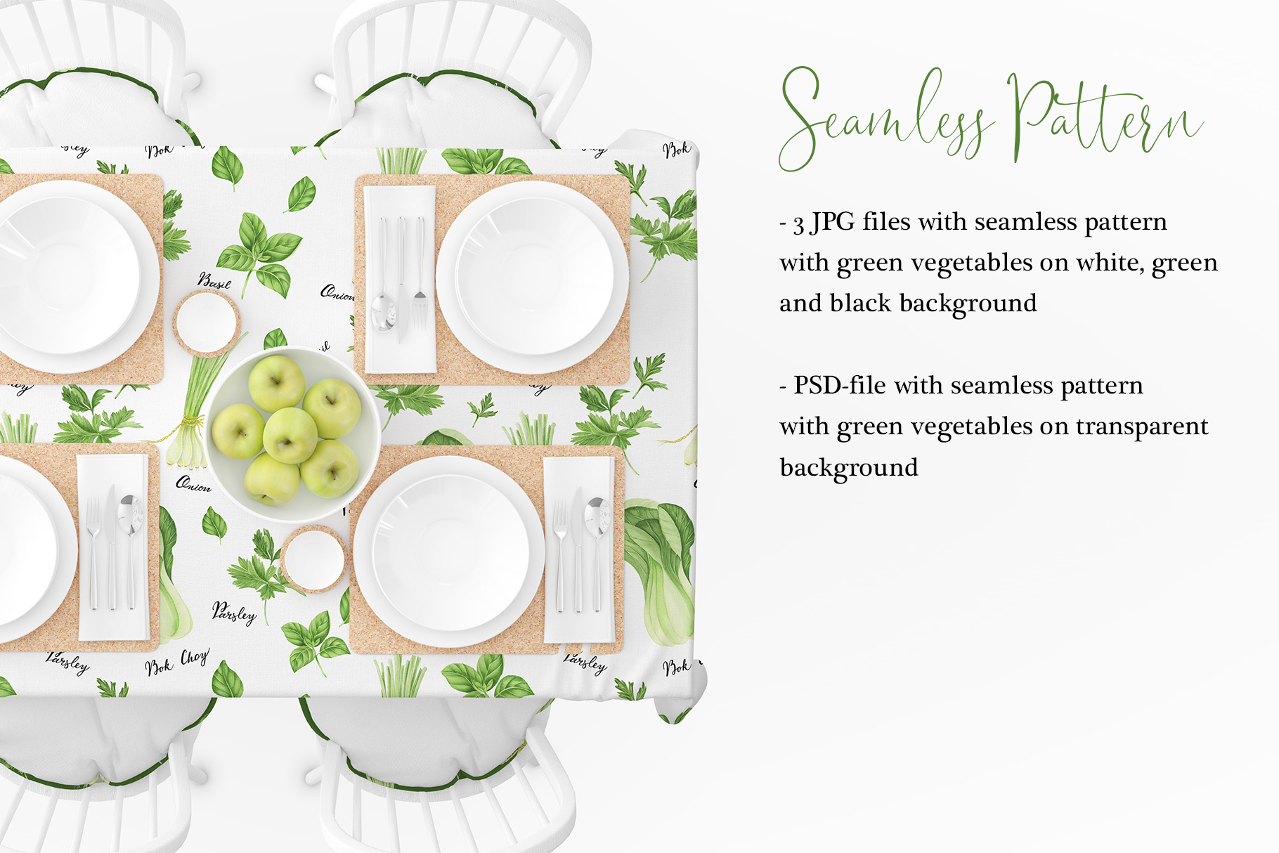 Watercolor green vegetables clipart example image 6