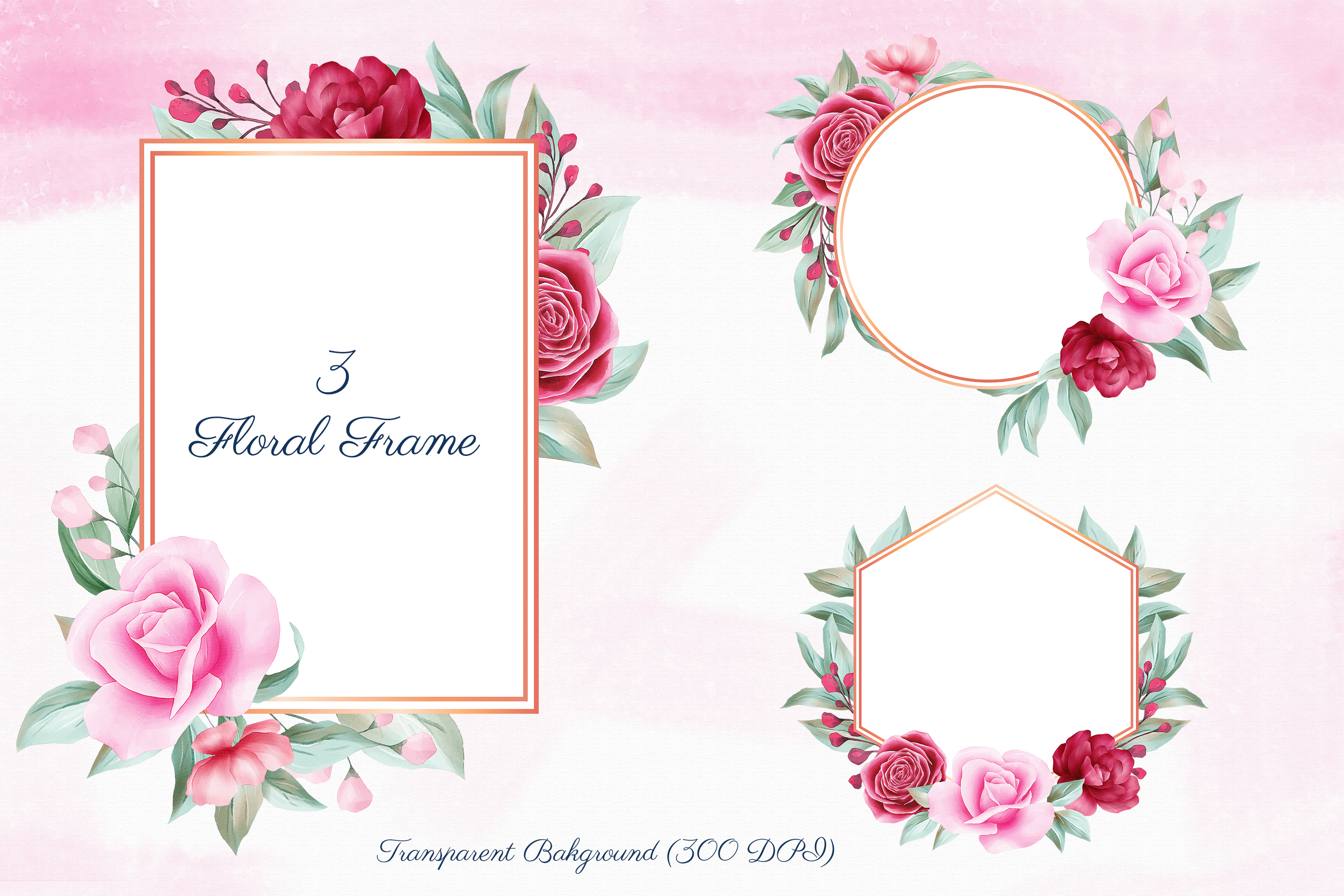 Romantic Watercolor Flowers Collection Bundle example image 4