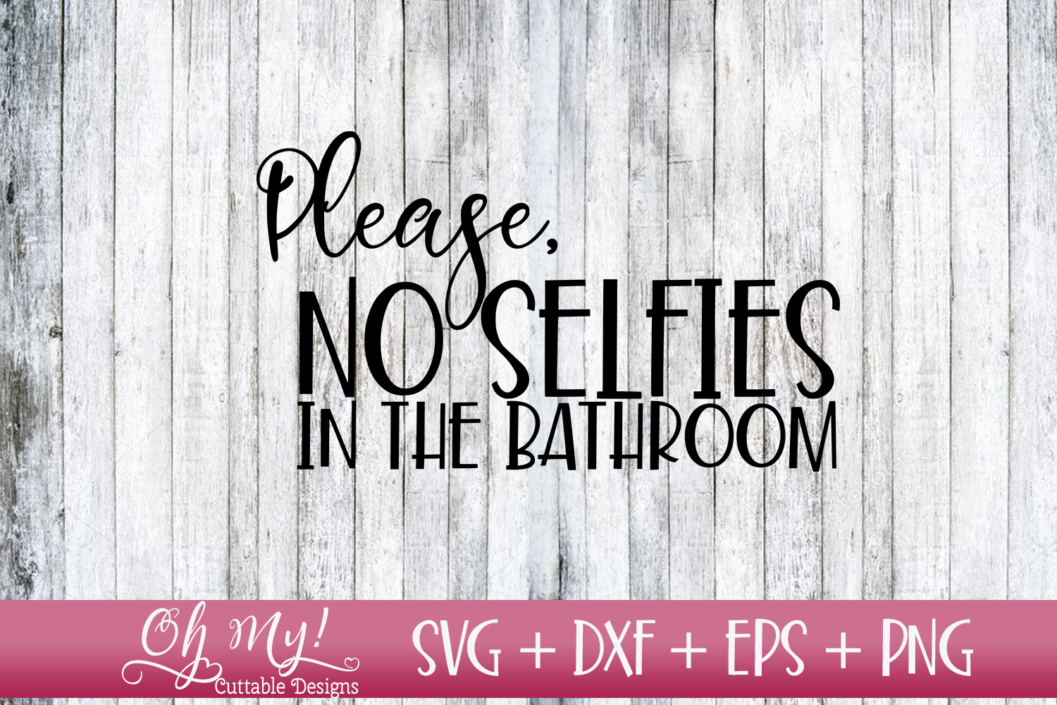 No Selfies In The Bathroom - SVG DXF EPS PNG example image 1