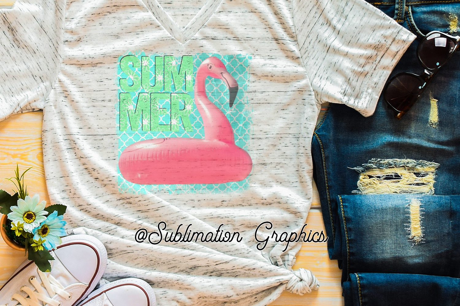 Summer Flamingo Sublimation PNG example image 1
