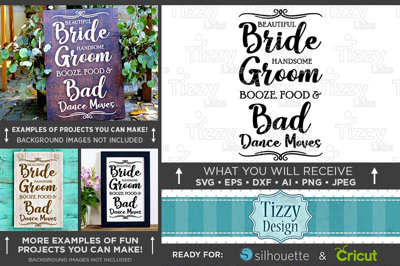 Beautiful Bride Handsome Groom Booze Wedding SVG File - 5518 example image 2