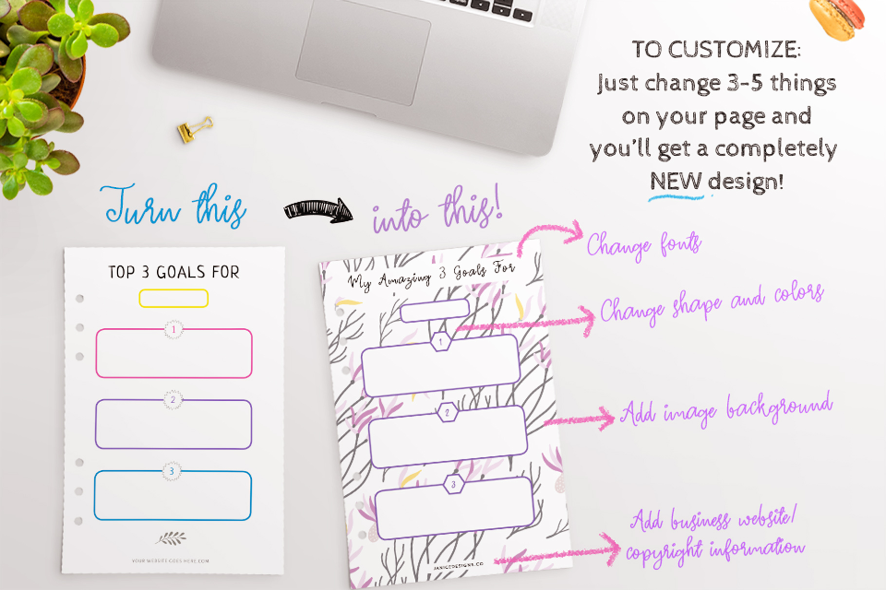 Goal Setting Printables InDesign Template example image 5