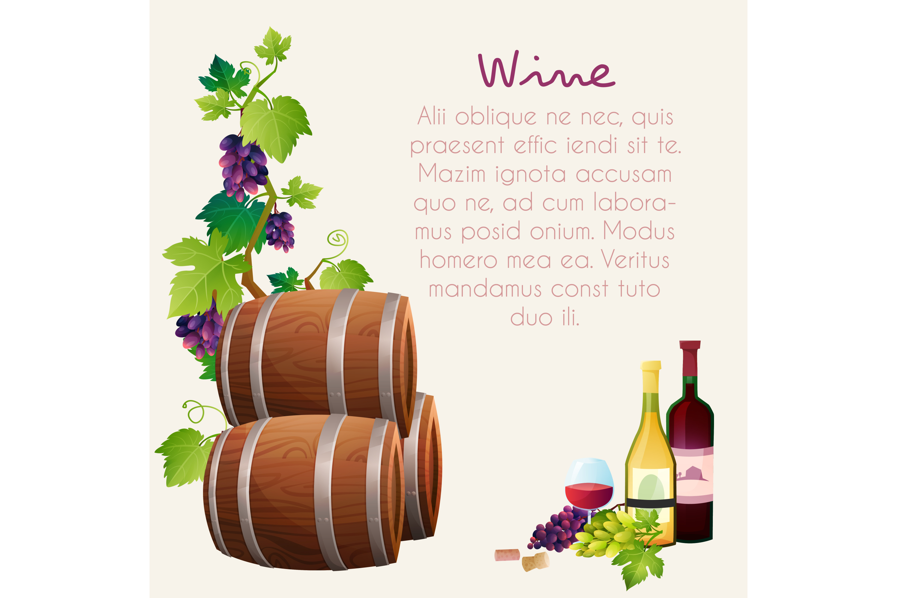 Wine vector set 15 items + 3 compositions example image 4