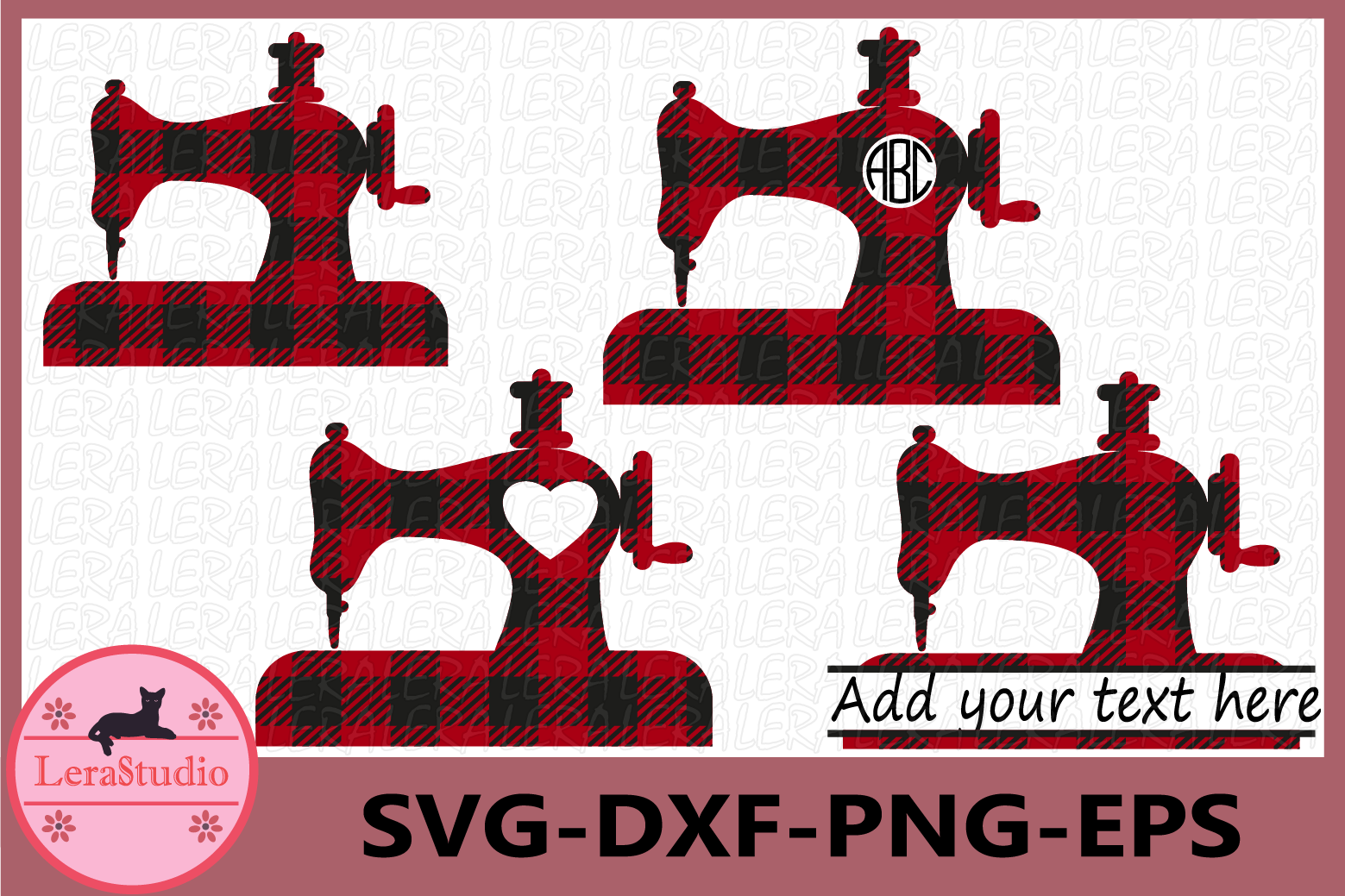Sewing Machine Buffalo Plaid Svg, Sewing Machine Monogram example image 1