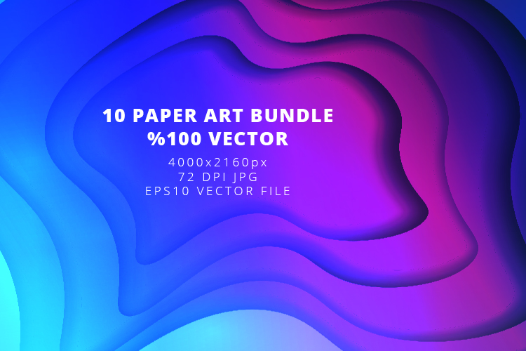 10 Paper Art Design Bundle - Backgrounds - Jpg and Vector example image 6