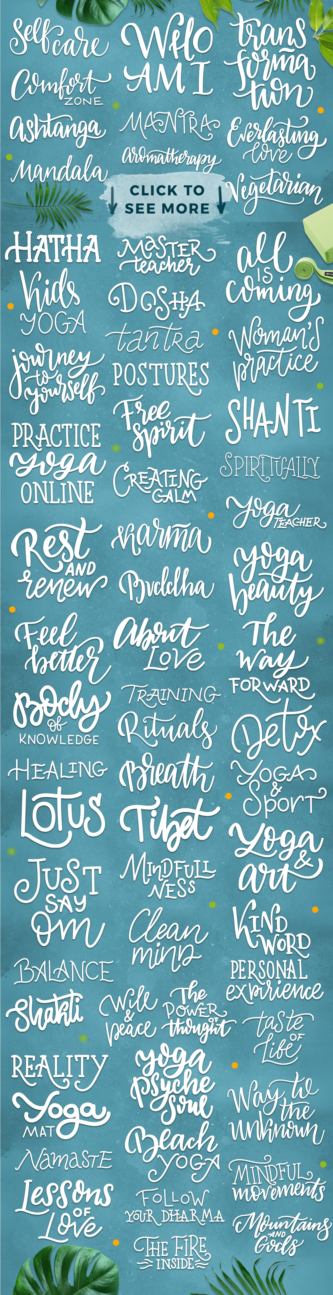 Yoga studio lettering & graphic set example image 3