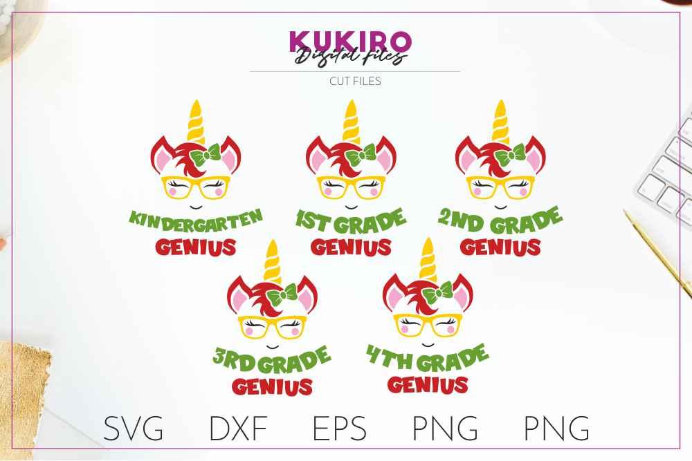 Unicorn SVG - Genius school girl cut file SVG DXF EPS PNG JP example image 1