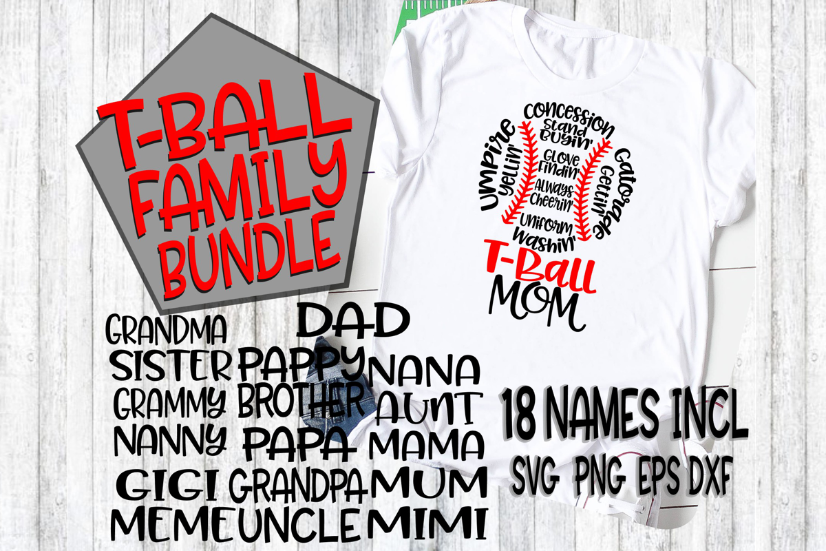 T-Ball Family Bundle - SVG - DXF - EPS - PNG - 18 Names example image 1