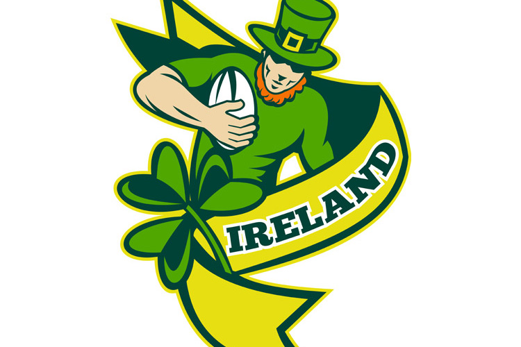 Irish rugby player leprechaun hat shamrock example image 1