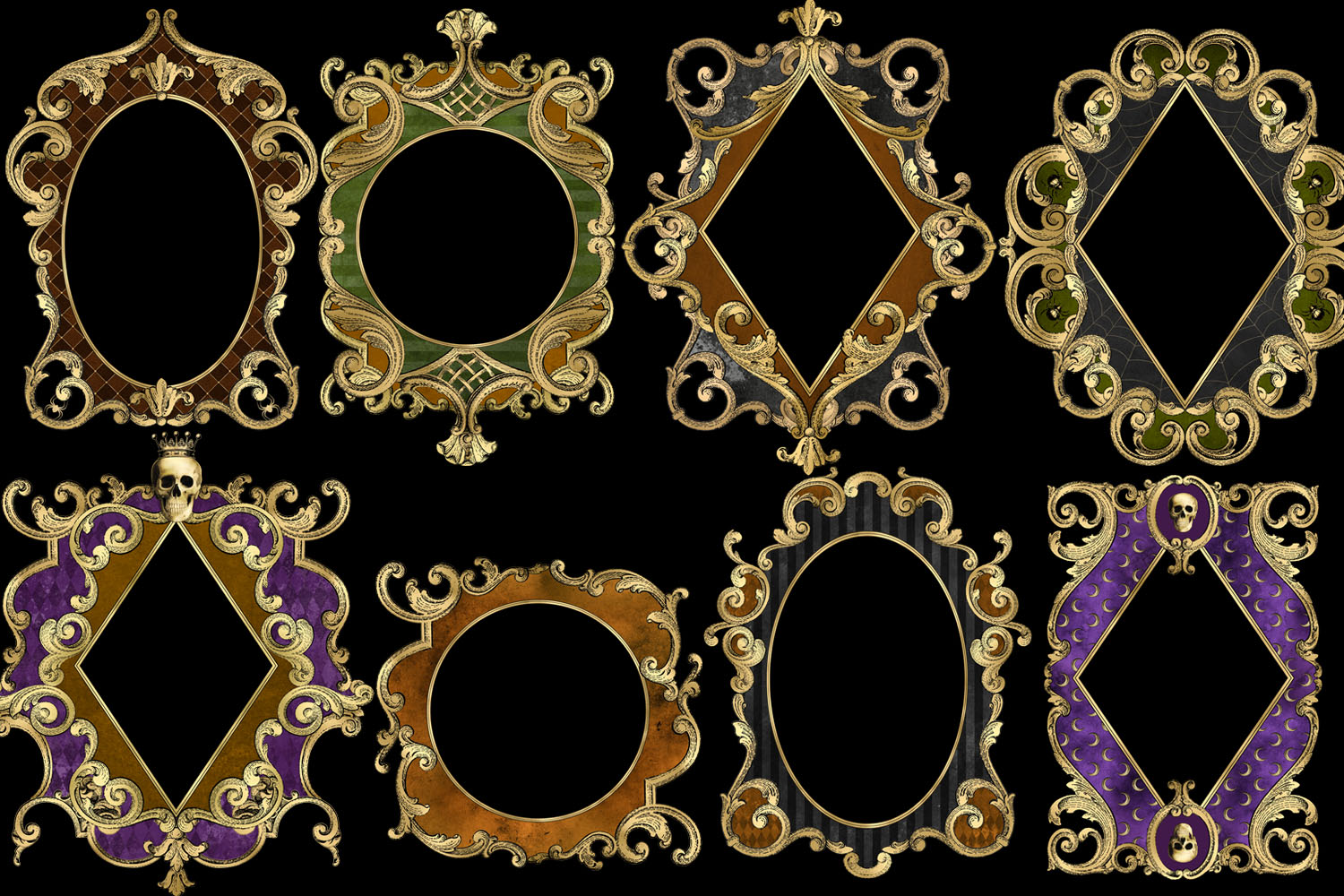 Ornate Halloween Frames Clipart example image 2