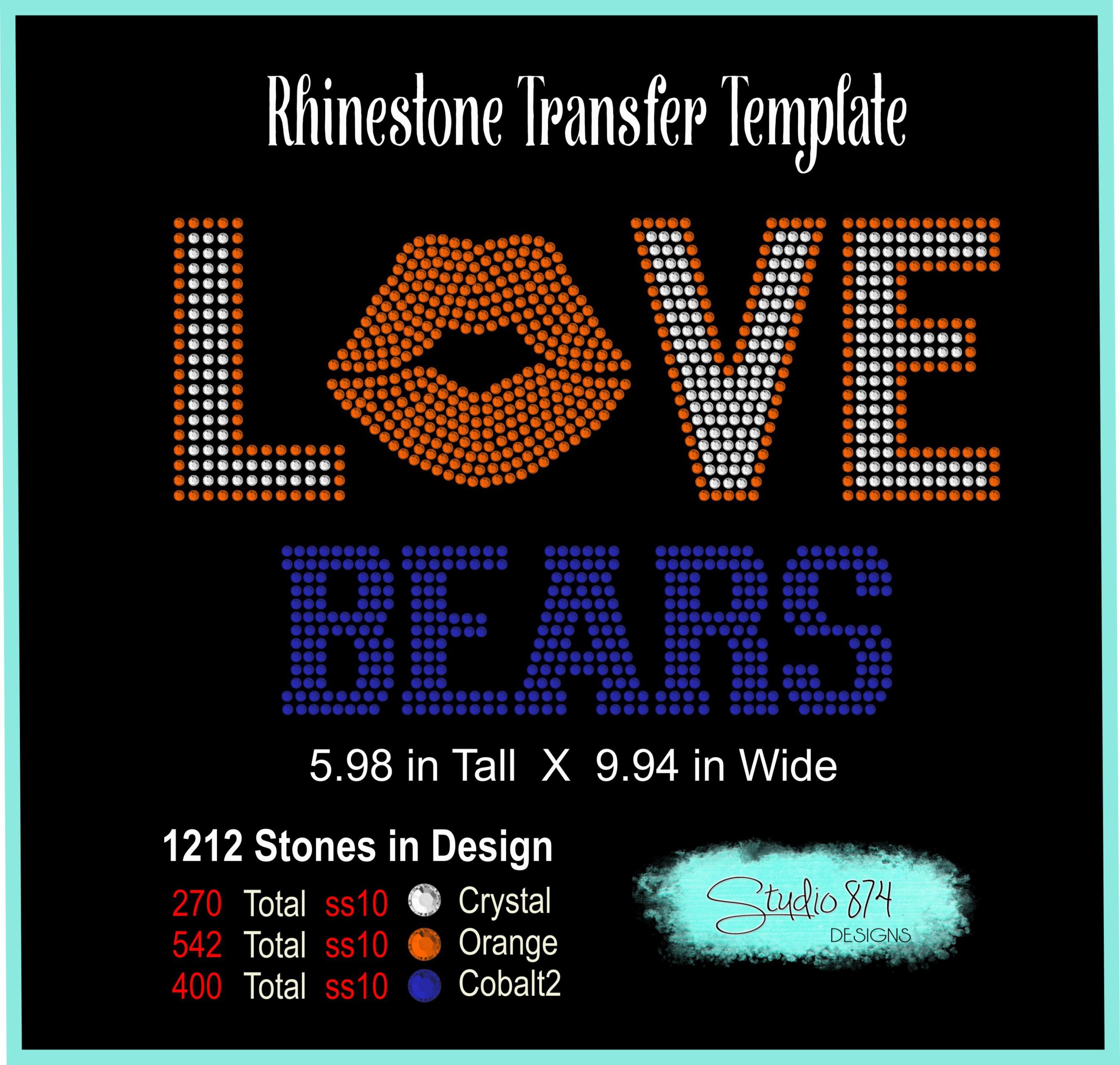 Love Bears Football Rhinestone Template Digital Download R1 example image 3
