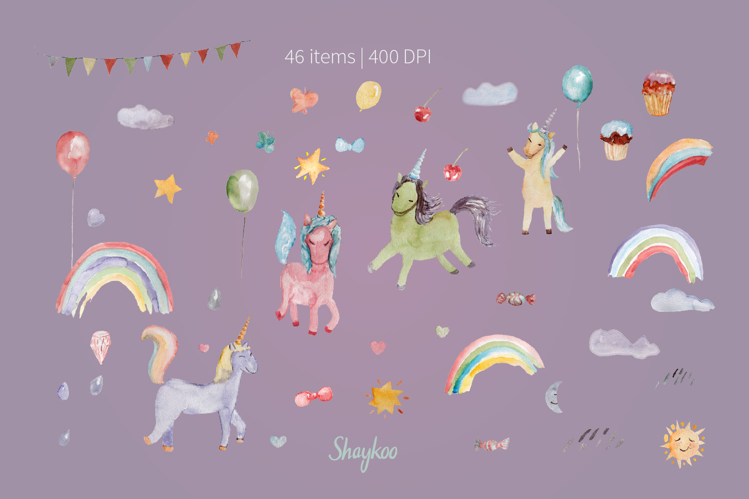 Unicorn Party Clipart, Watercolor Baby Unicorn Clipart example image 5