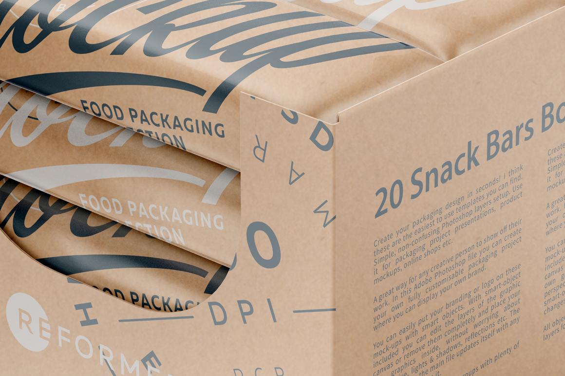 Kraft Snack Bars and Display Box Mockup example image 3