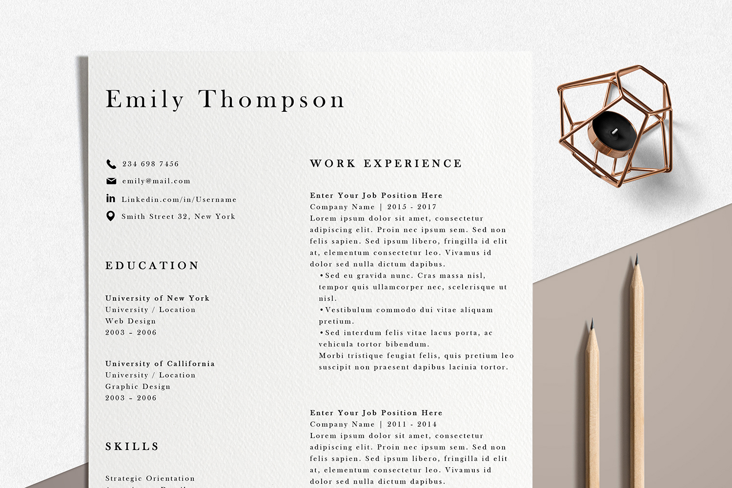 Resume Template | Photoshop CV Template - Emily example image 1