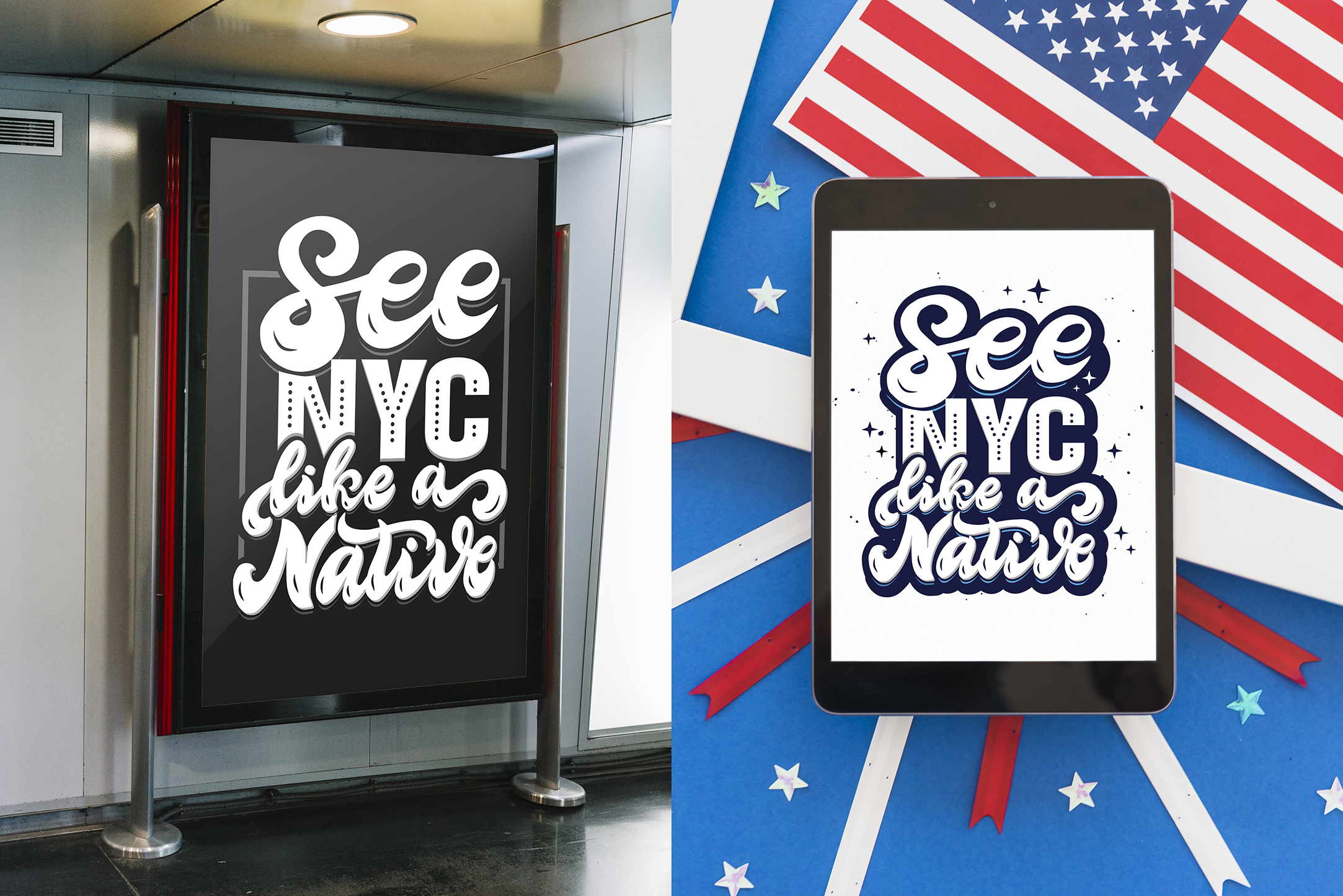 Set of New York hand drawn lettering example image 4