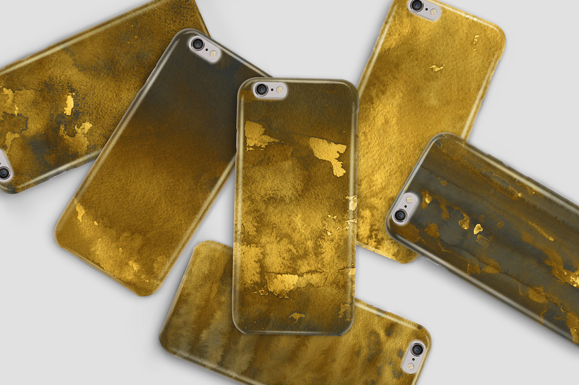 Golden Watercolor & Ink Backgrounds example image 5