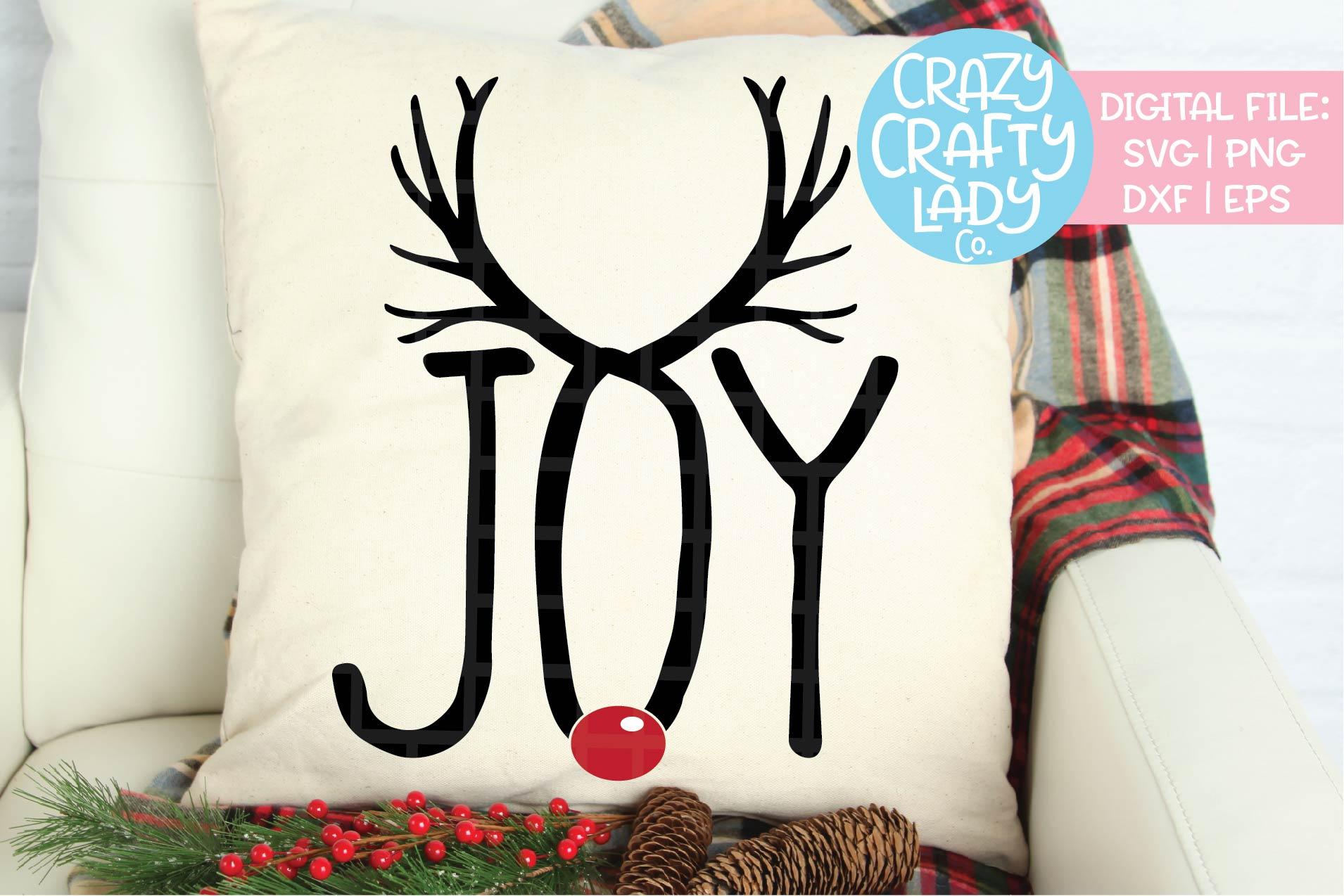 Joy Reindeer SVG DXF EPS PNG Cut File example image 1