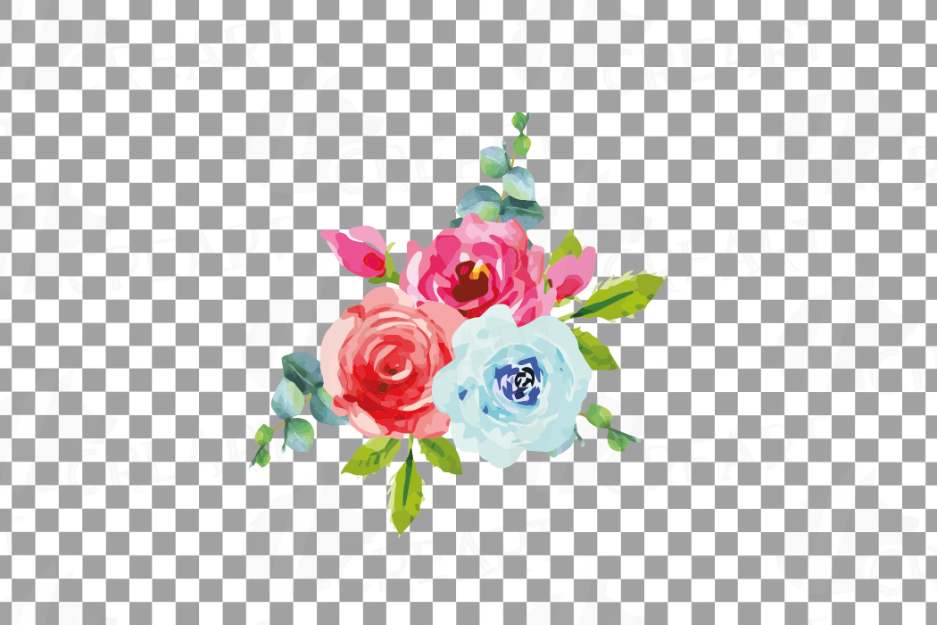Boho pink and blue watercolor wedding bouquets, floral png example image 13