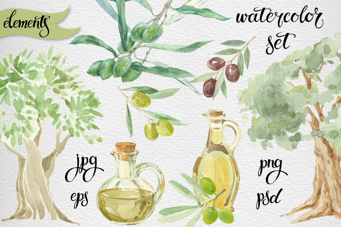 Watercolor olive set example image 2
