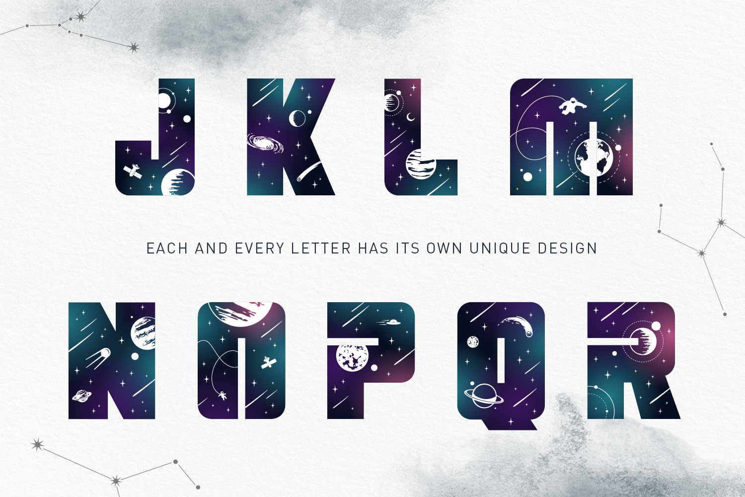Lost In Space. Color Font - SVG example image 12