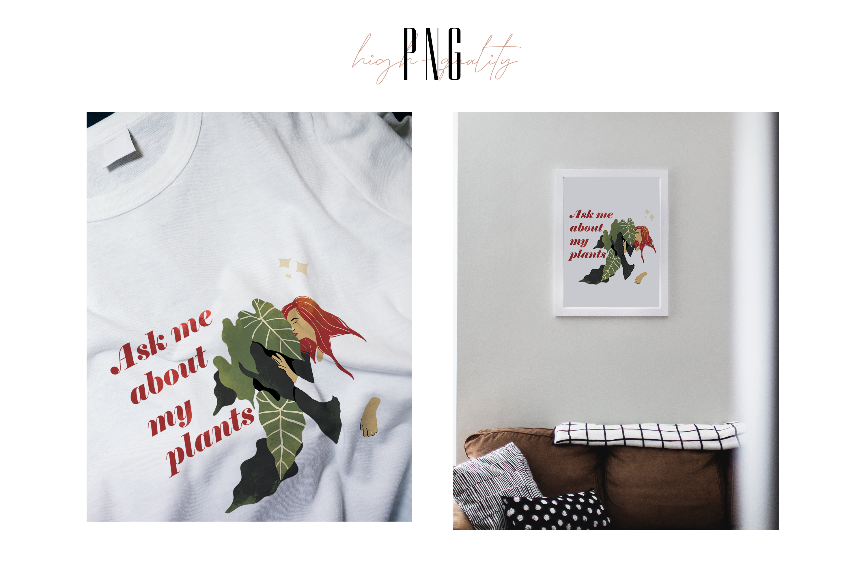 Sublimation PNG clipart witn Crazy Plant Lady for Printing example image 3