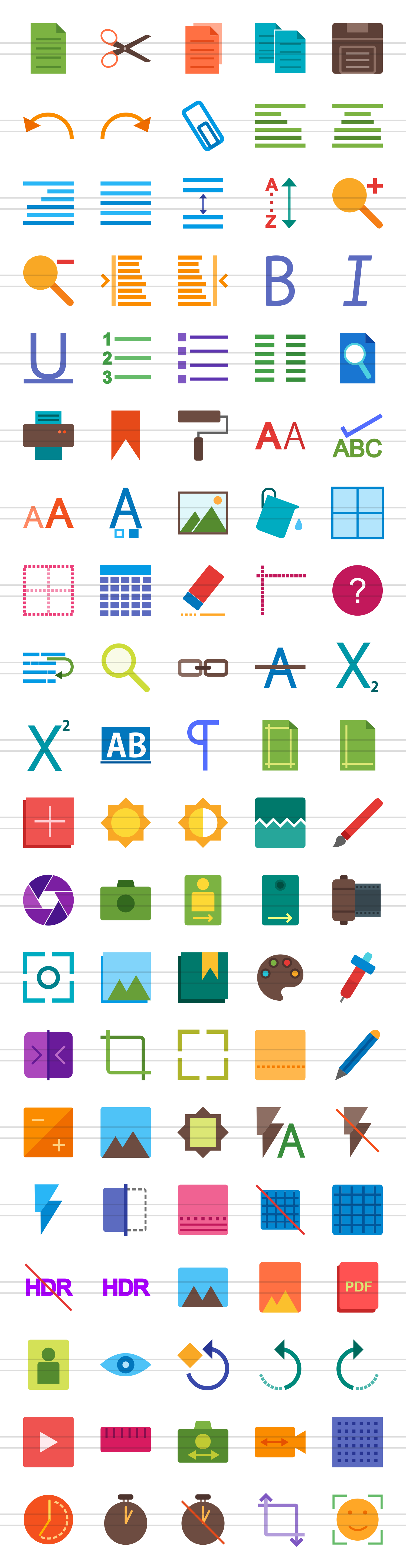 100 Photo & Text Editing Flat Icons example image 2