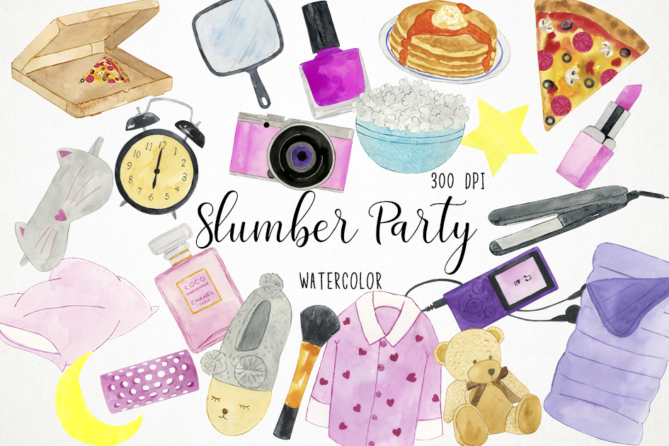 Watercolor Slumber Party Clipart, Slumber Party Clip Art example image 1