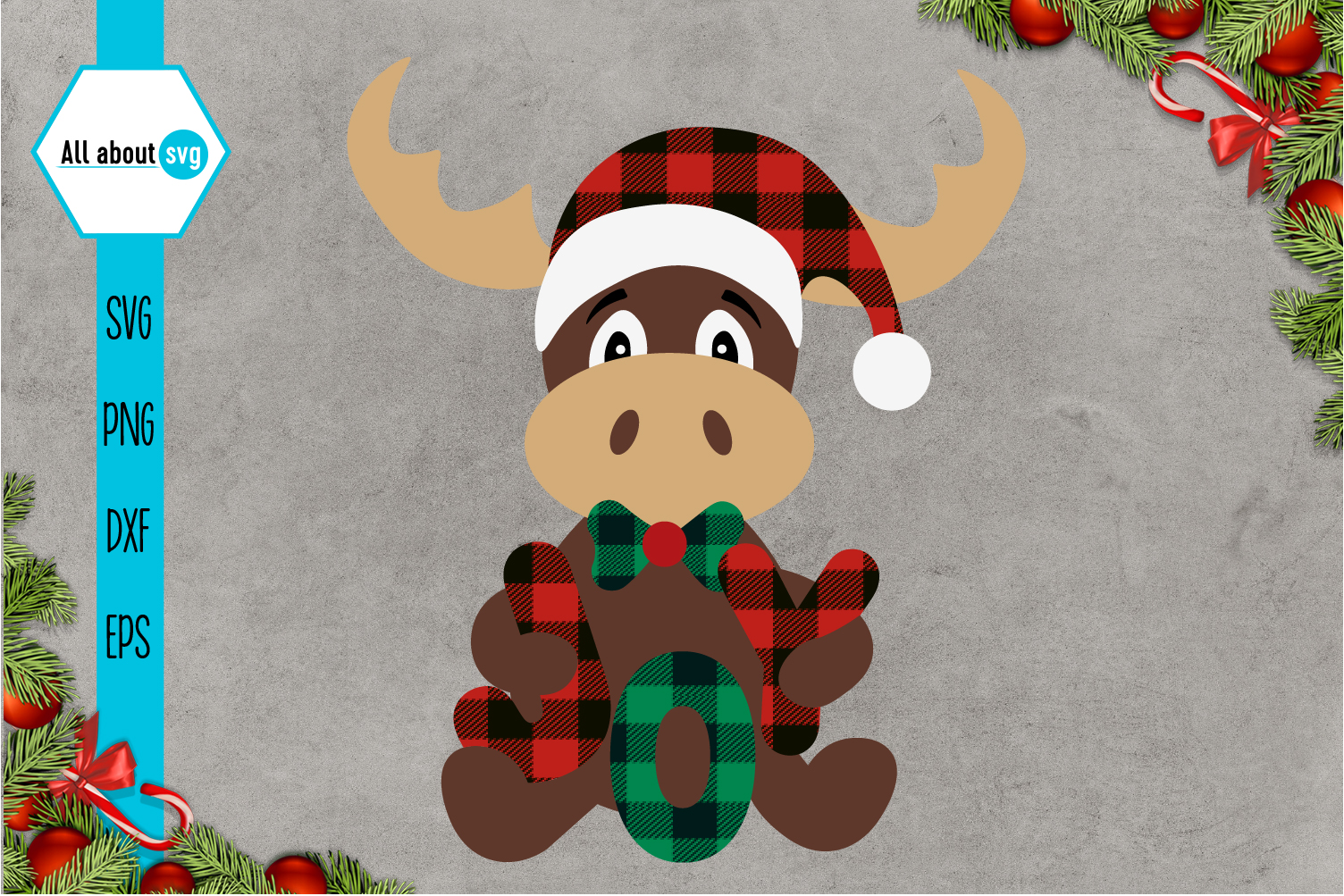 Reindeer Buffalo Plaid Svg, Christmas Joy Svg example image 2