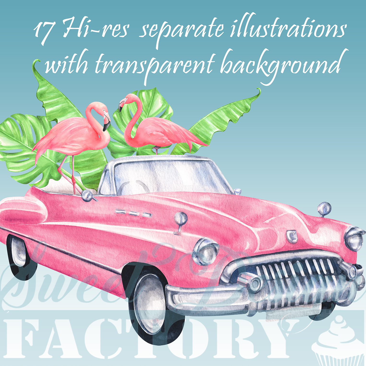 Watercolor flamingos and retro cars summer clipartS example image 8